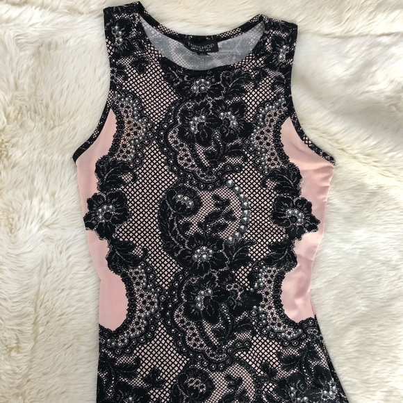 Topshop Dresses & Skirts - TOPSHOP pink and black lace dress